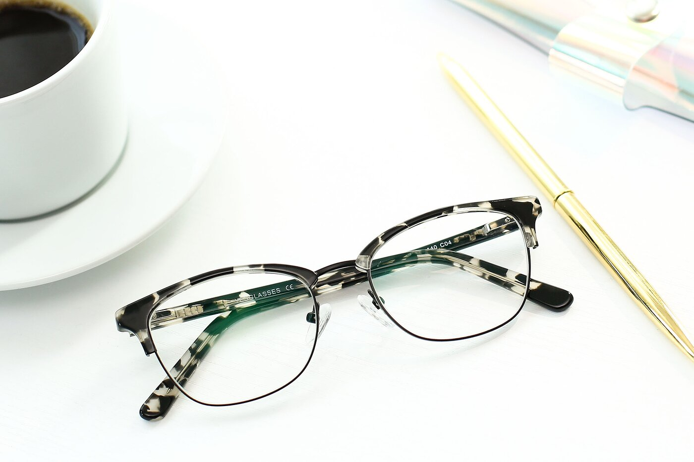 Black-Tortoise Narrow Browline Horn-Rimmed Eyeglasses