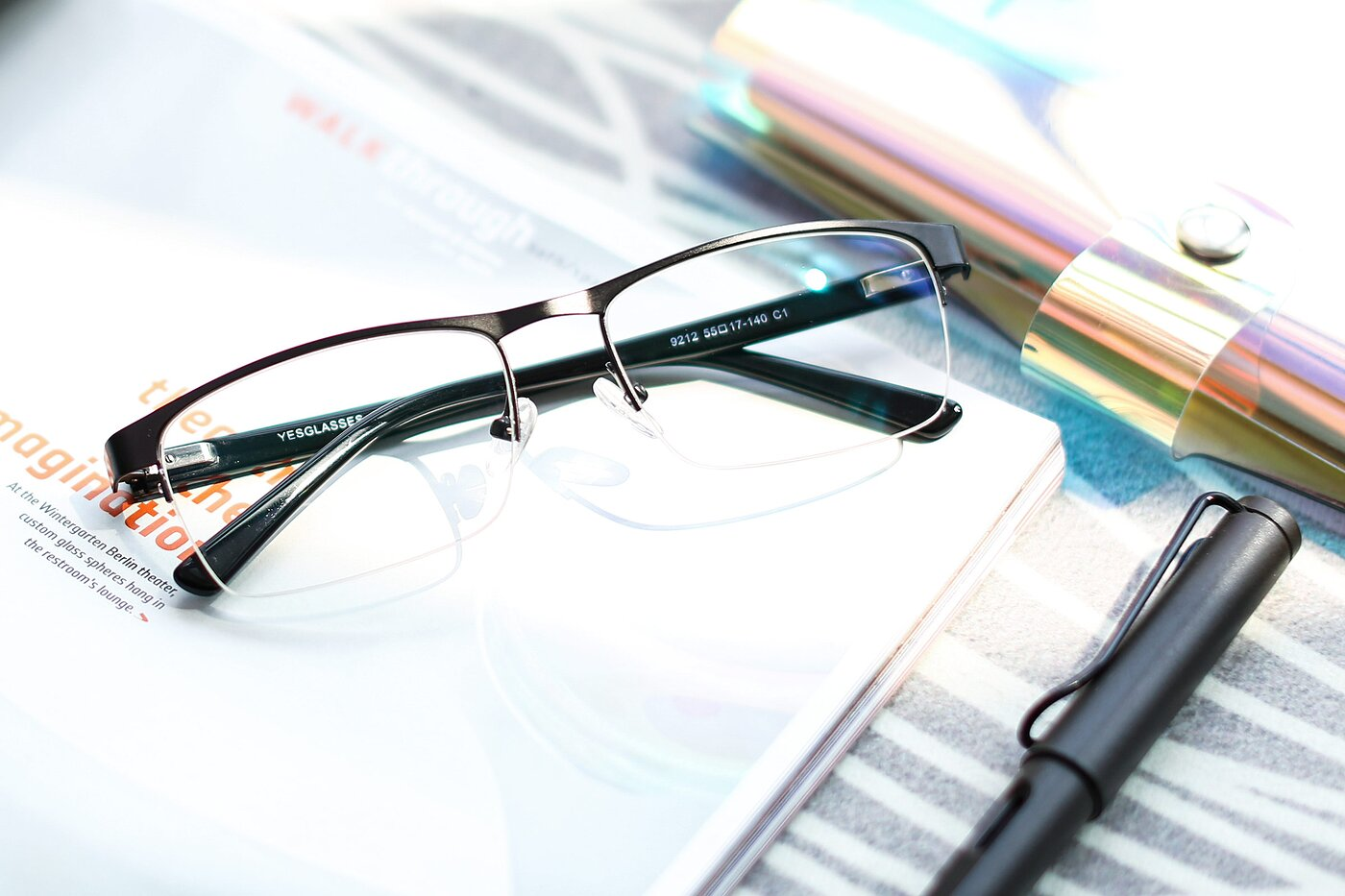 Gunmetal Metal Rectangle Semi-Rimless Eyeglasses