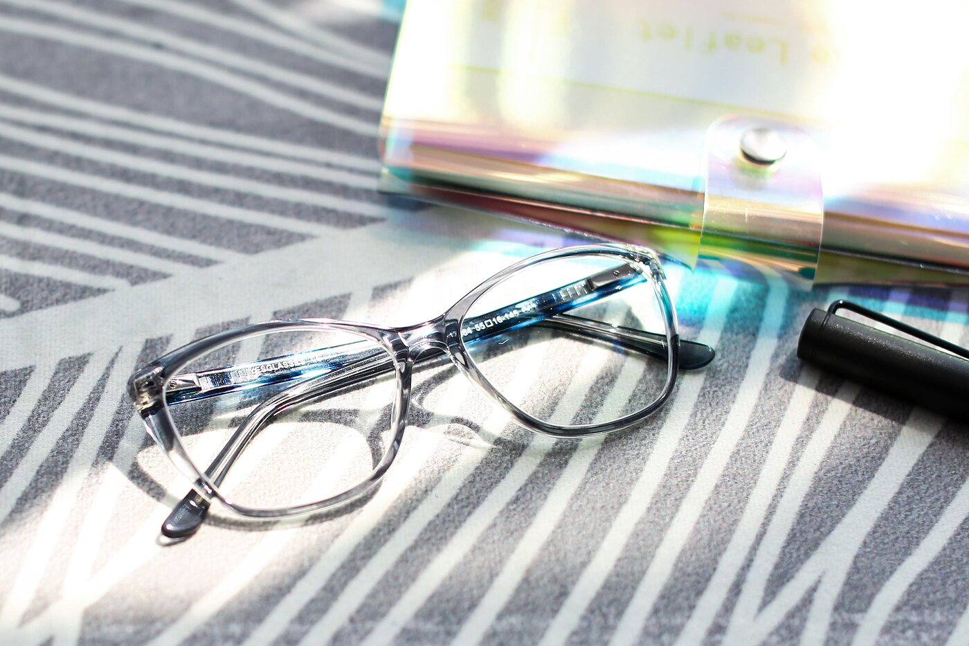 Transparent Grey Geek-Chic Acetate Butterfly Eyeglasses