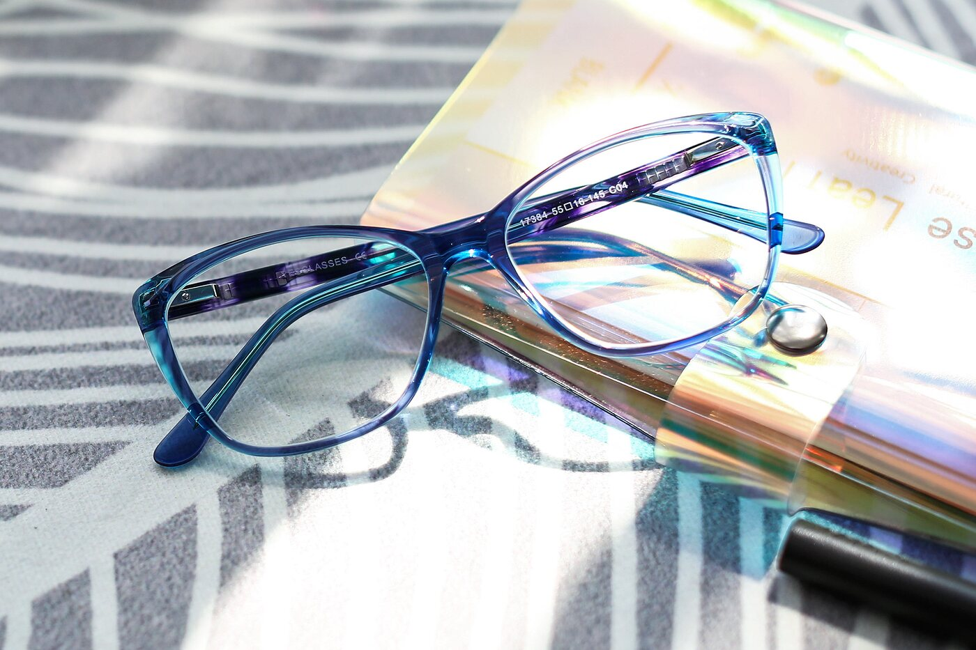 Transparent Blue Geek-Chic Acetate Butterfly Eyeglasses