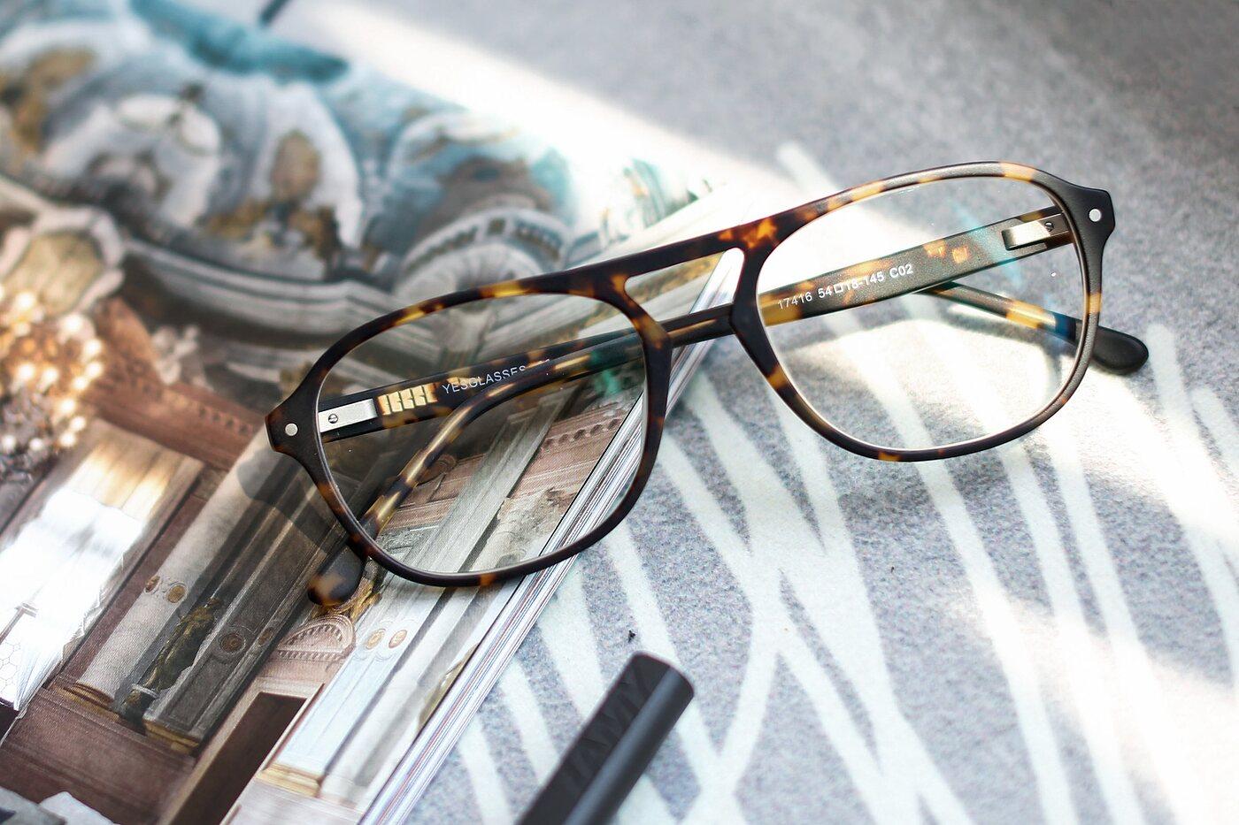 Matt Tortoise Grandpa Acetate Aviator Eyeglasses