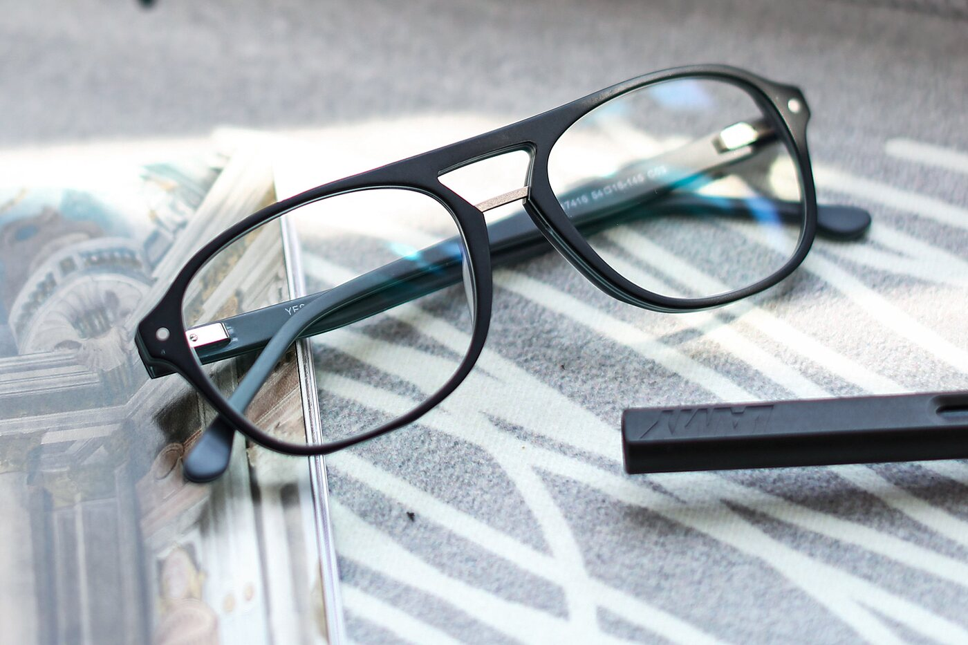 Matt Black Grandpa Acetate Aviator Eyeglasses