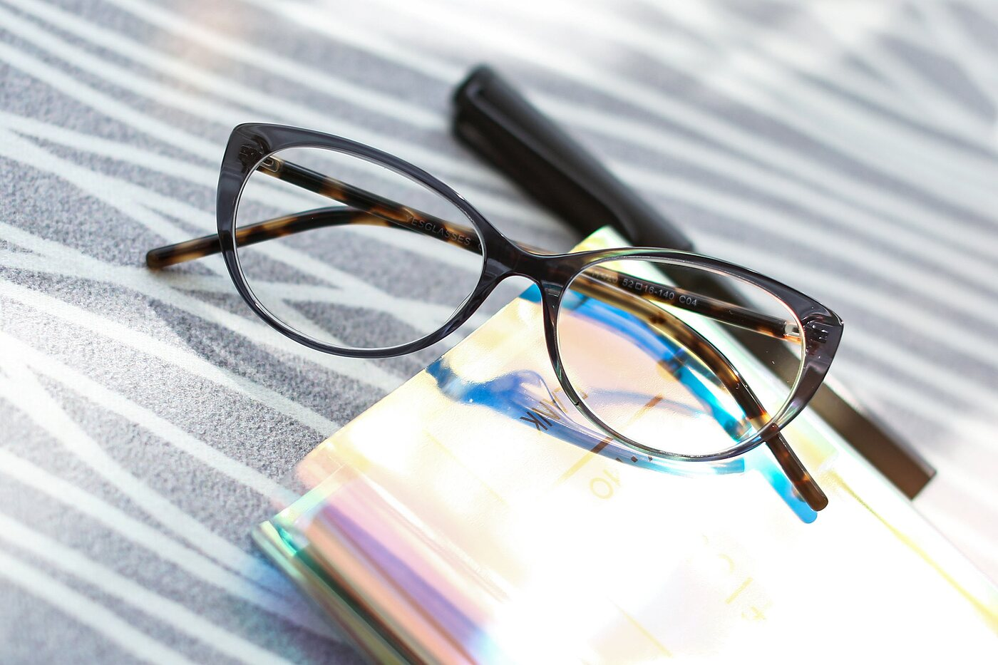 Transparent Grey Narrow Retro-Vintage Cat-Eye Eyeglasses