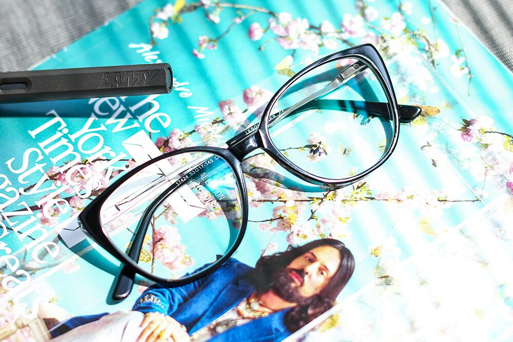 Black Oversized Acetate Cat-Eye Eyeglasses