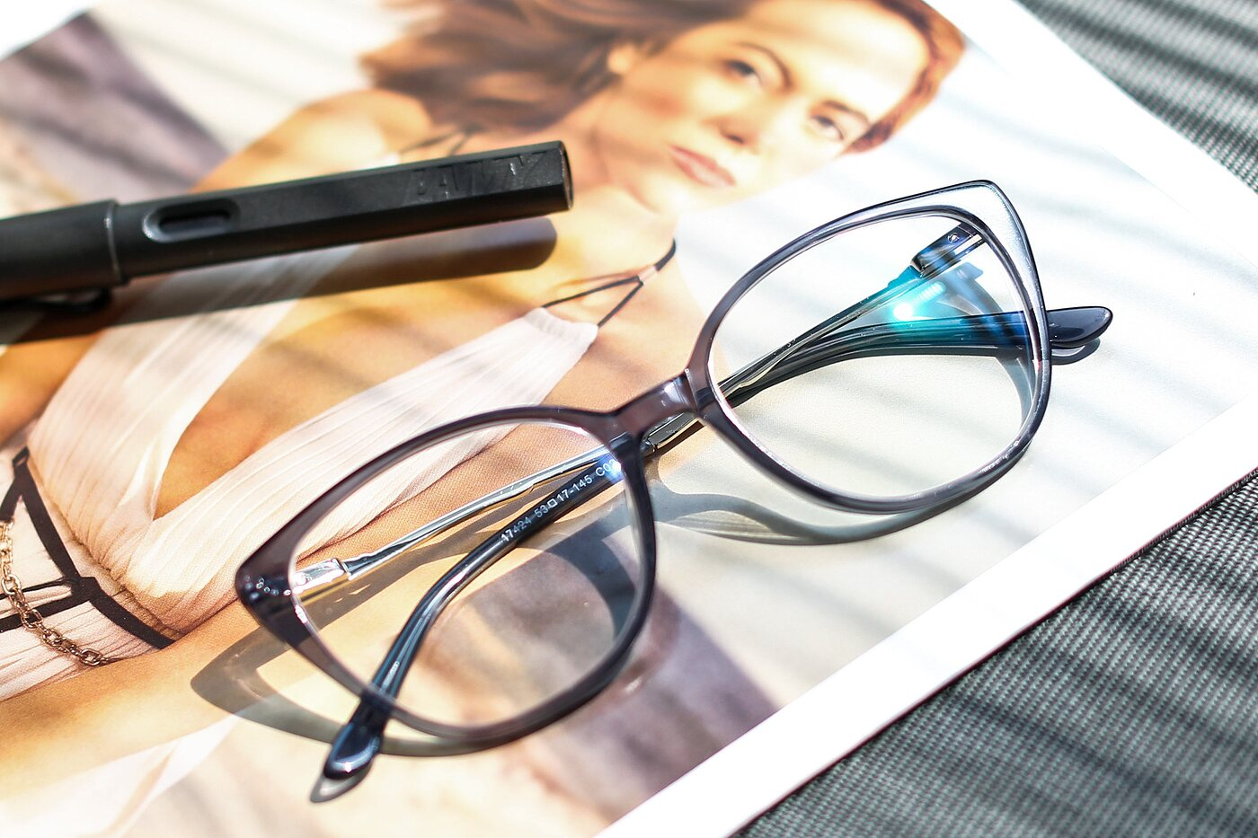 Transparent Grey Oversized Acetate Cat-Eye Eyeglasses