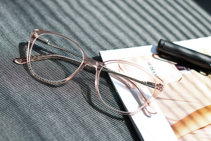 Transparent Pink Oversized Acetate Cat-Eye Eyeglasses