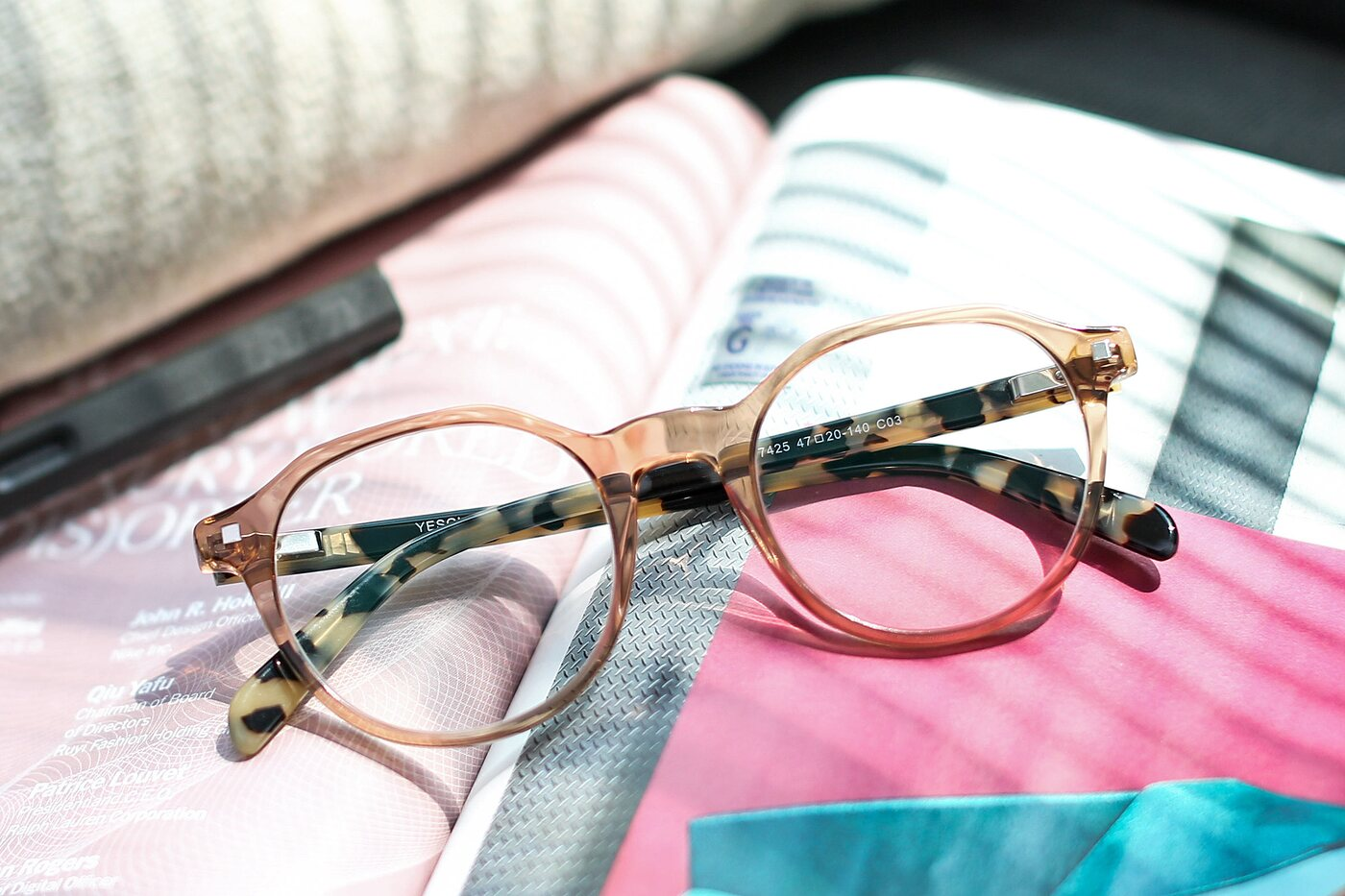 Transparent Caramel Geek-Chic Round Irregular Eyeglasses