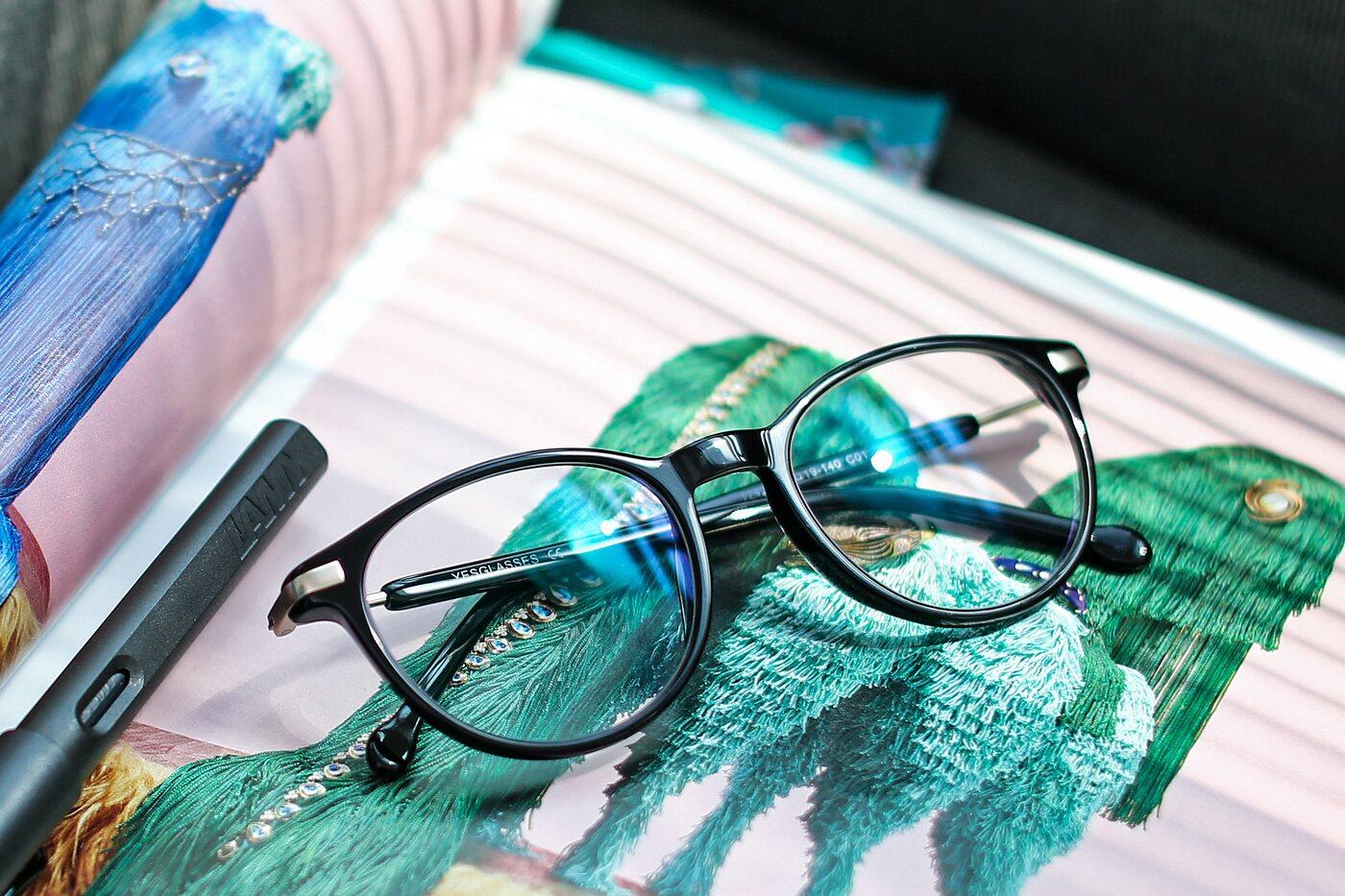 Black Hipster Wayfarer Acetate Eyeglasses