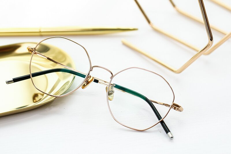 Gold Narrow Titanium Geometric Eyeglasses
