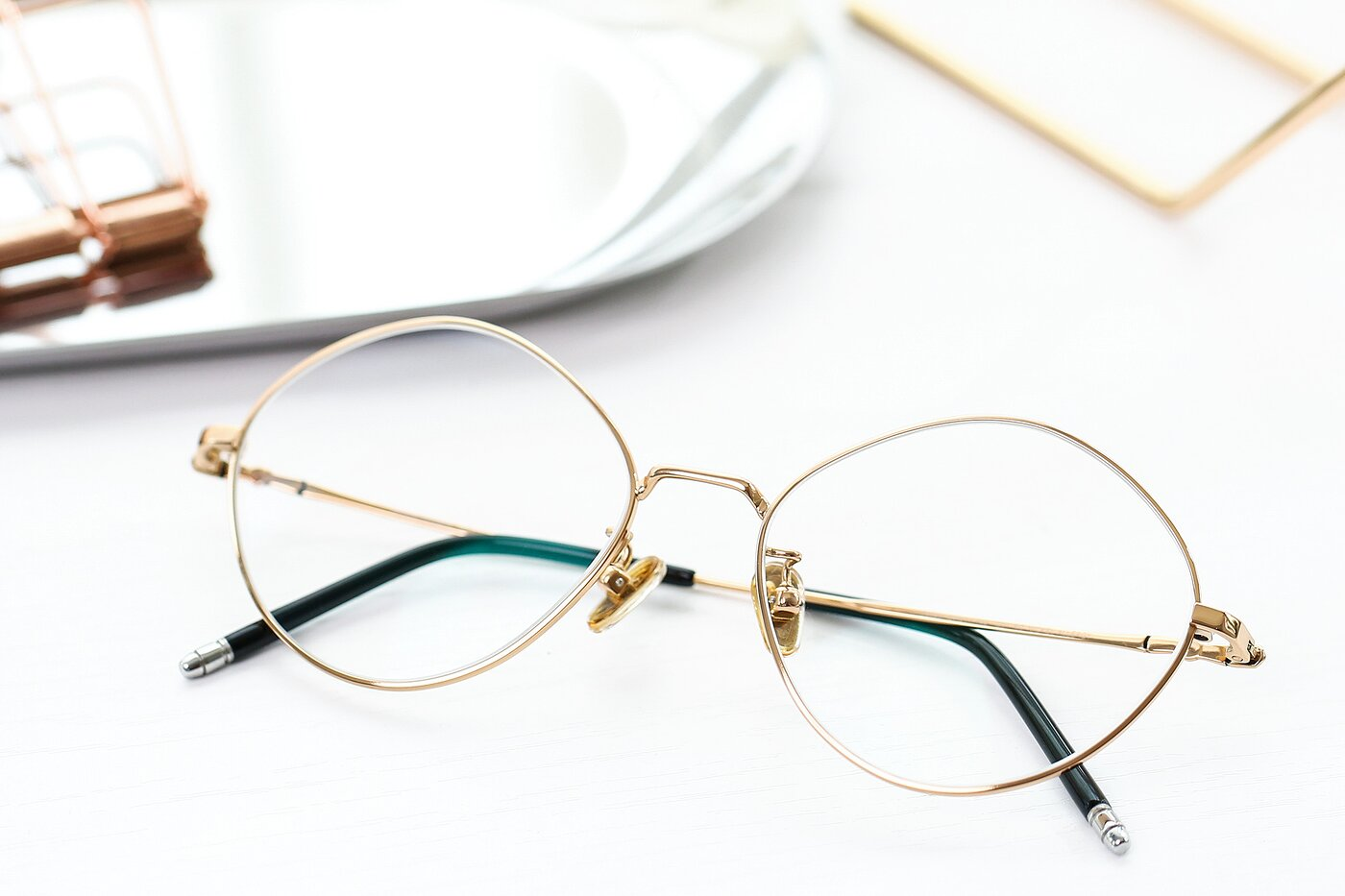 Gold Hipster Titanium Geometric Eyeglasses