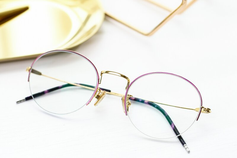 Red-Gold Titanium Round Semi-Rimless Eyeglasses