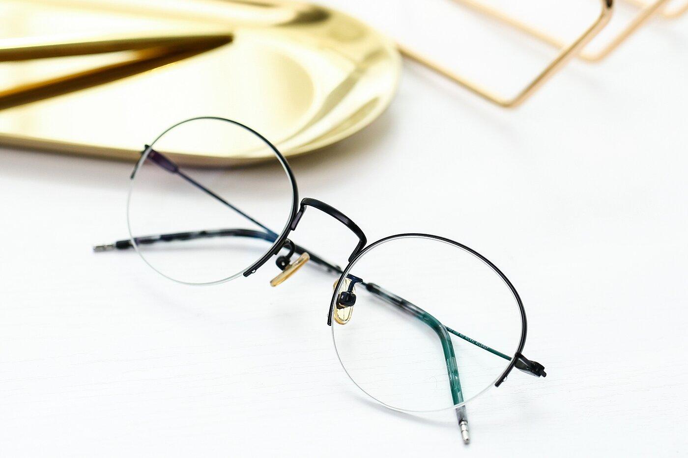Black Titanium Round Semi-Rimless Eyeglasses