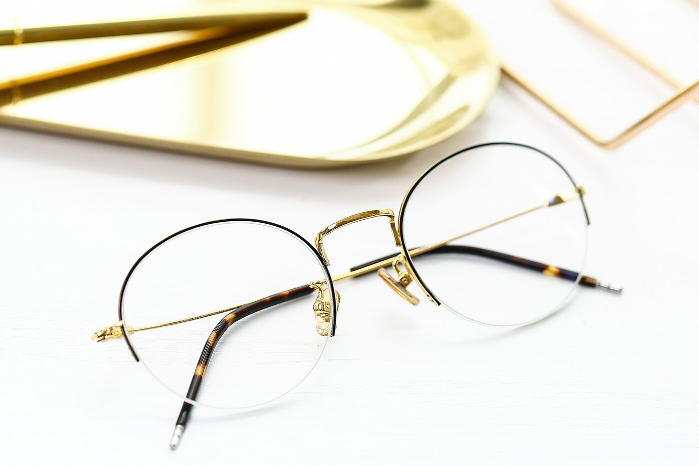 Black-Gold Titanium Round Semi-Rimless Eyeglasses