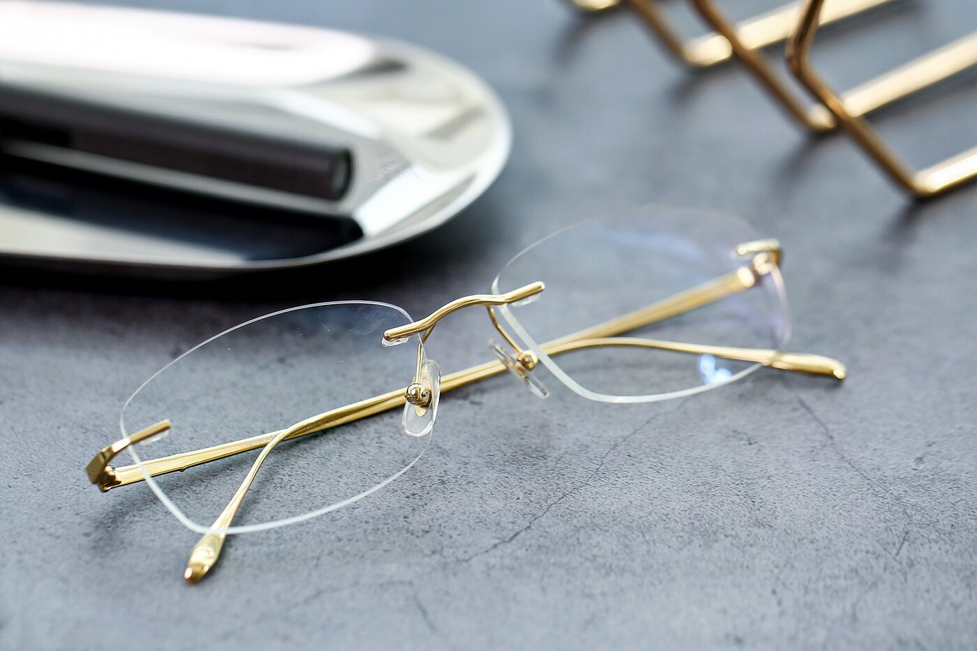 Gold Classic Rectangle Rimless Eyeglasses