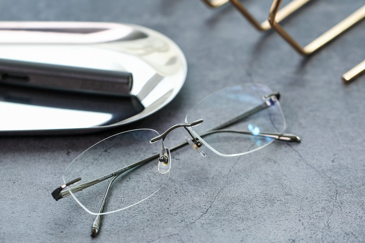 Gunmetal Classic Rectangle Rimless Eyeglasses
