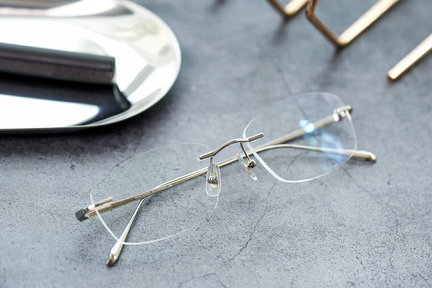 Silver Classic Rectangle Rimless Eyeglasses