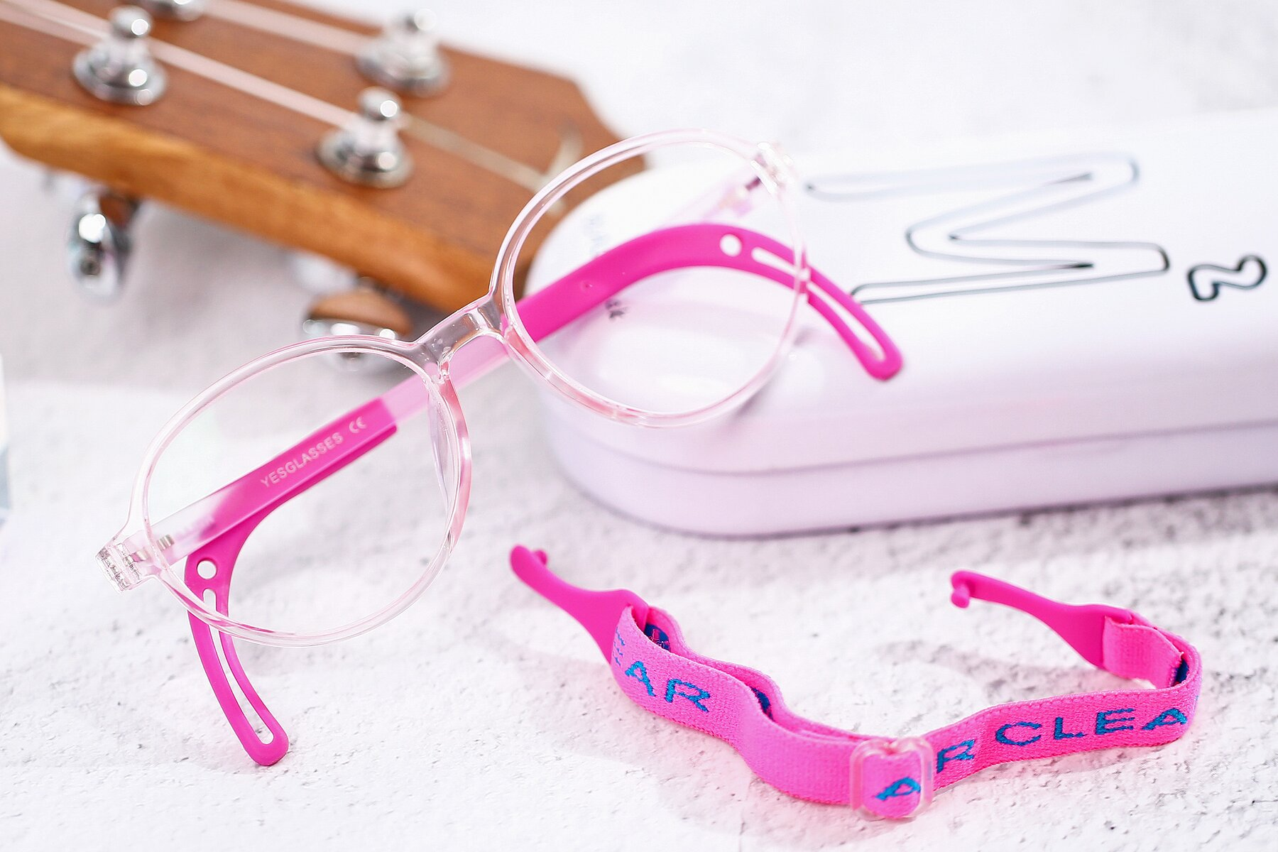 Women's lifestyle photography #1 of 1020 in Tranparent Pink with Clear Eyeglass Lenses
