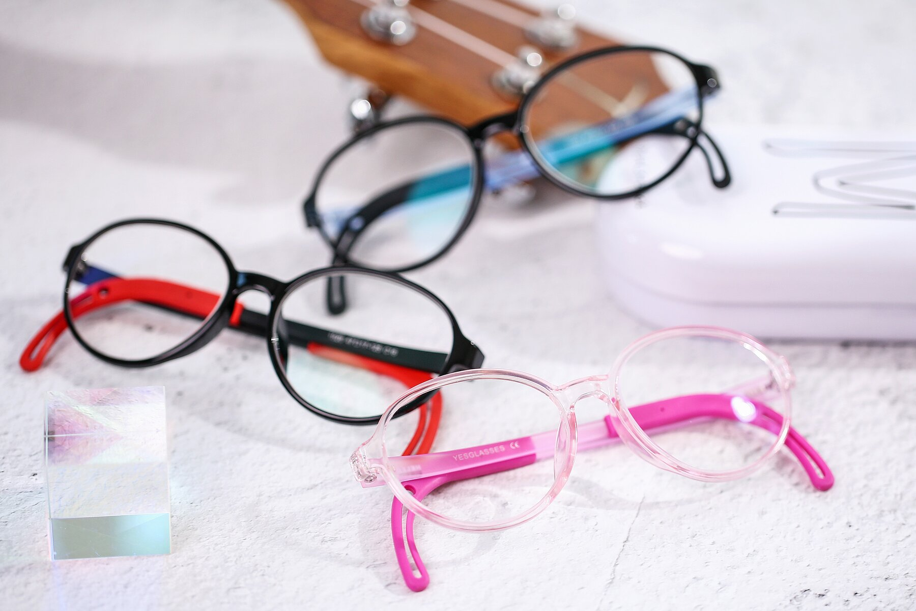 Women's lifestyle photography #4 of 1020 in Tranparent Pink with Clear Blue Light Blocking Lenses