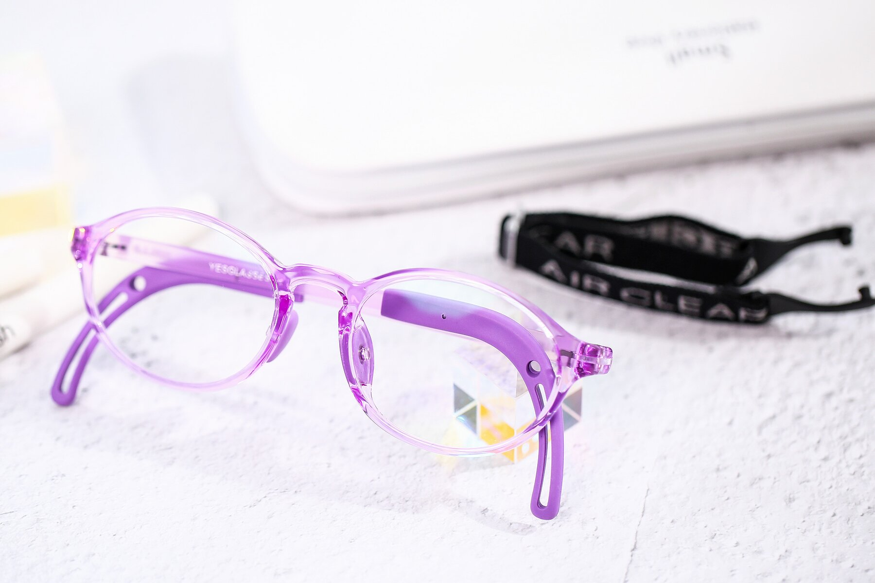 Lifestyle photography #1 of 8373 in Tranparent Purple with Clear Blue Light Blocking Lenses