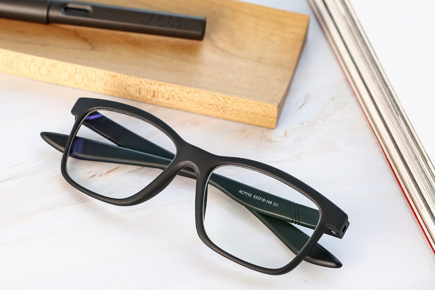 Matte Black Wayfarer Wrap Around TR90 Eyeglasses