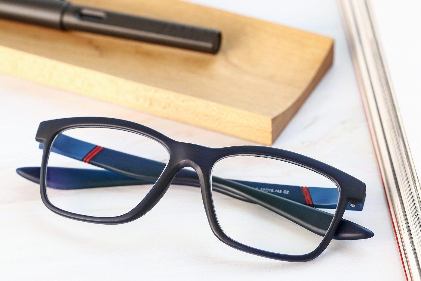 Matte Blue Wayfarer Wrap Around TR90 Eyeglasses