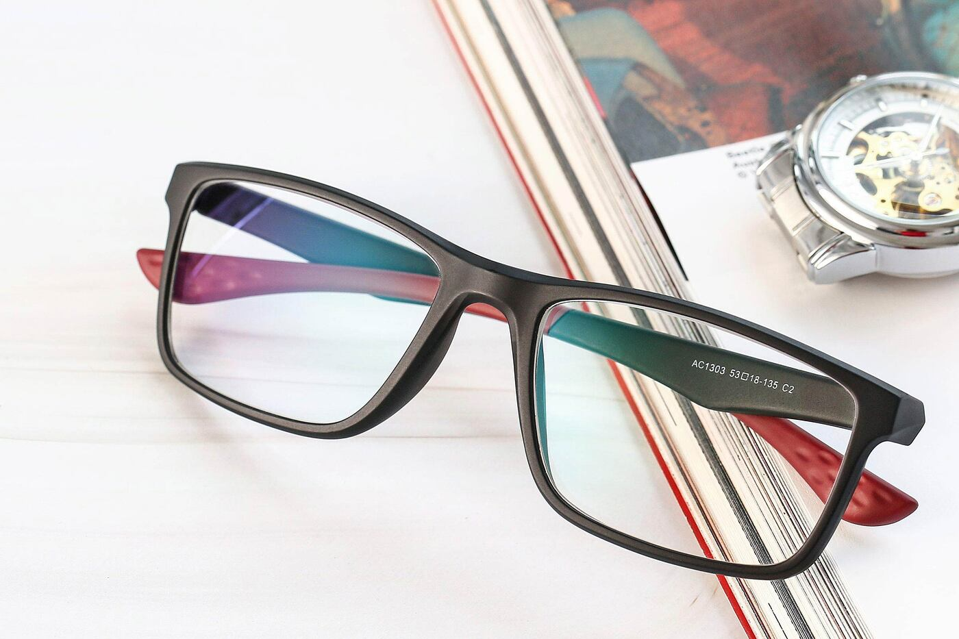 Matte Gray Wrap Around TR90 Rectangle Eyeglasses