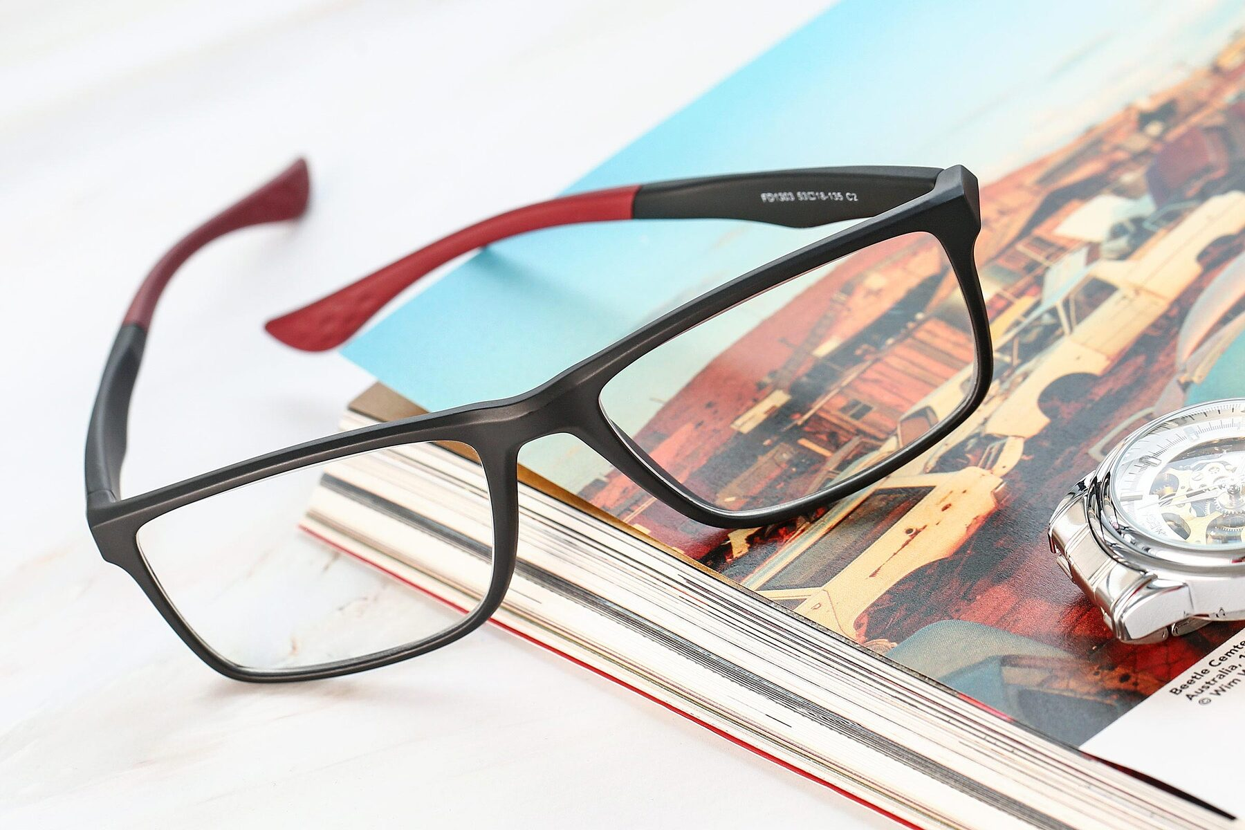 Men's lifestyle photography #2 of AC1303 in Matte Gray with Clear Eyeglass Lenses
