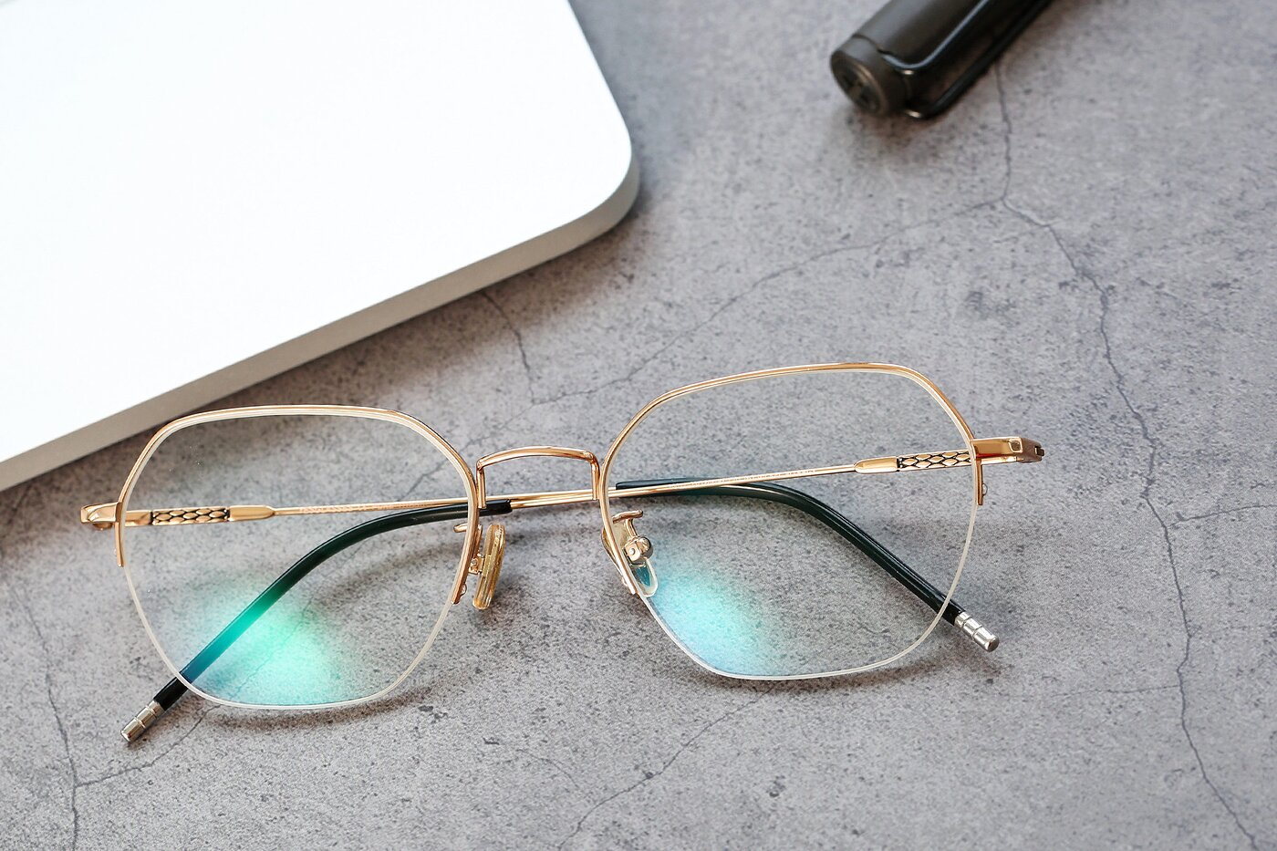 Gold Titanium Geometric Semi-Rimless Eyeglasses