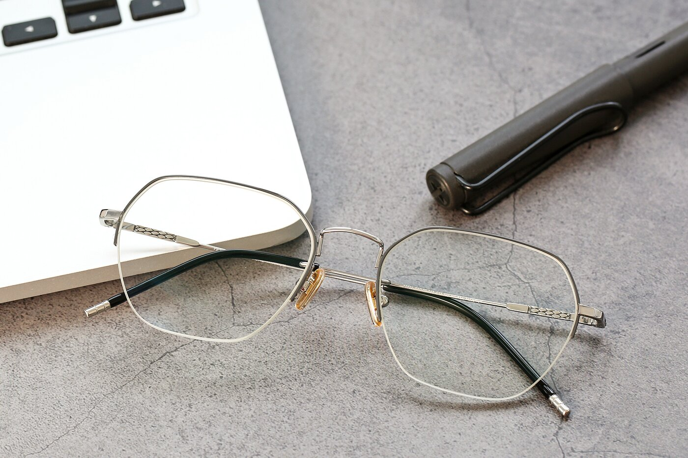 Gray-Silver Titanium Geometric Semi-Rimless Eyeglasses