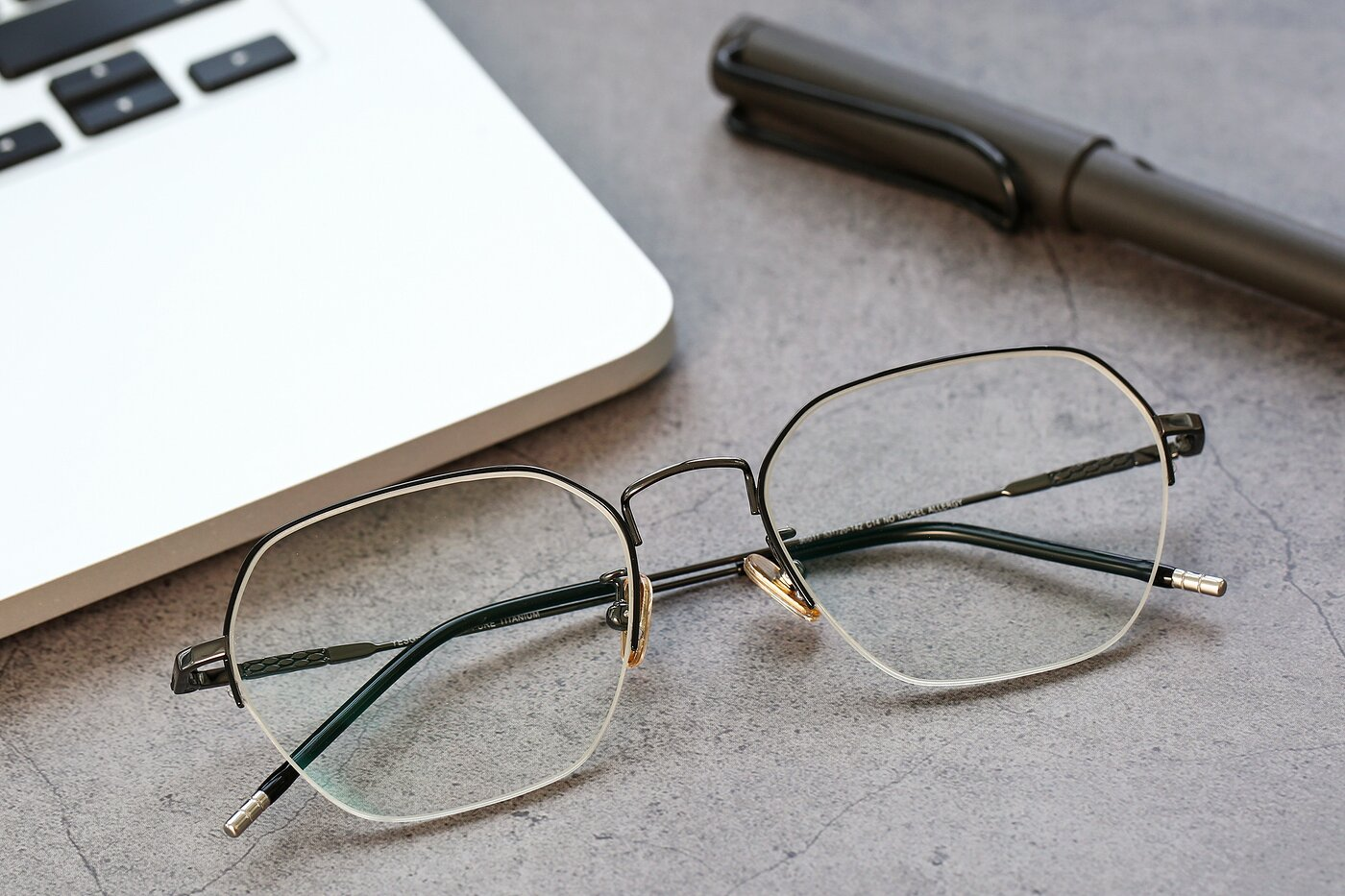 Gun Titanium Geometric Semi-Rimless Eyeglasses