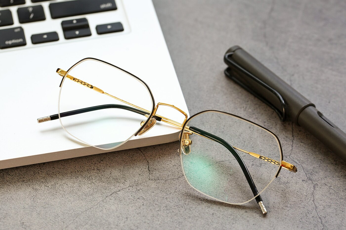 Black-Gold Titanium Geometric Semi-Rimless Eyeglasses