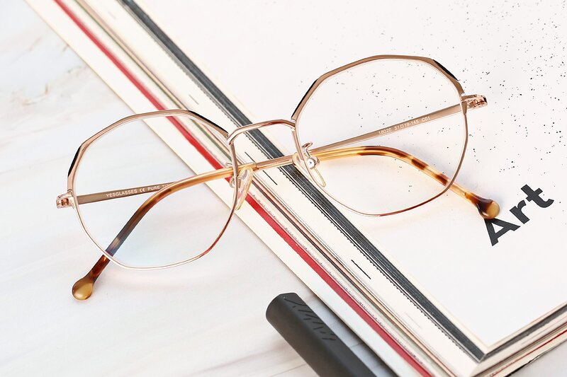 Rose Gold Hipster Browline Geometric Eyeglasses