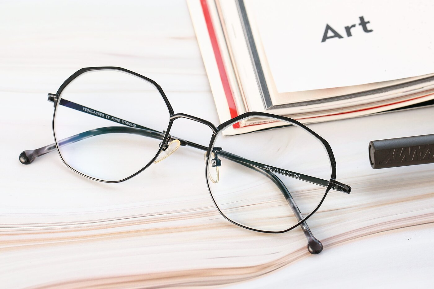 Black Hipster Browline Geometric Eyeglasses