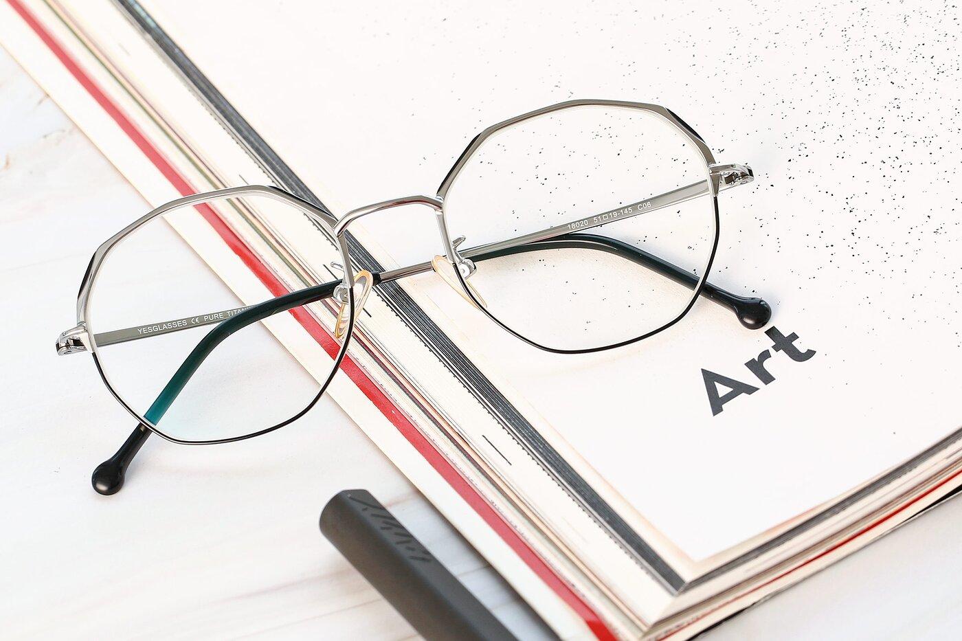 Black-Silver Hipster Browline Geometric Eyeglasses