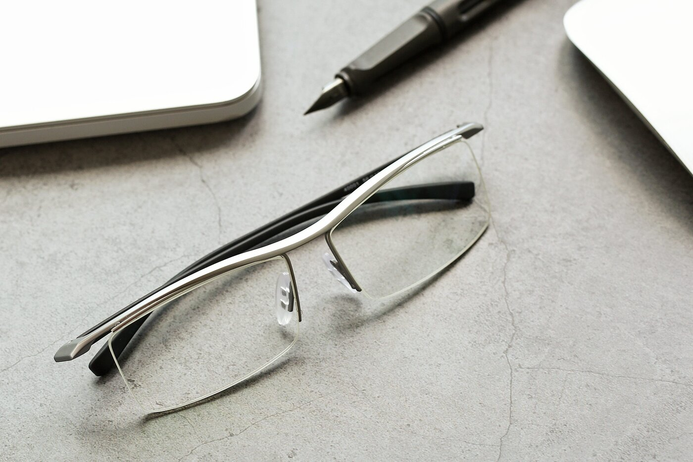 Silver Wide Browline Semi-Rimless Eyeglasses