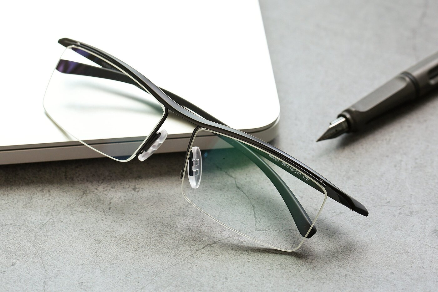 Black Wide Browline Semi-Rimless Eyeglasses