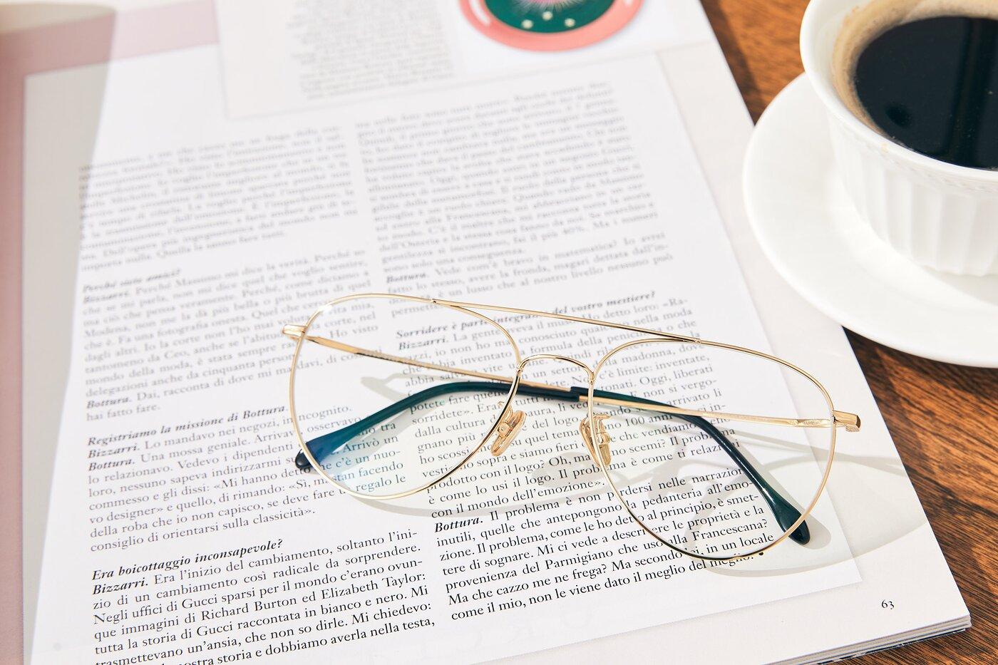 Gold Classic Titanium Aviator Eyeglasses