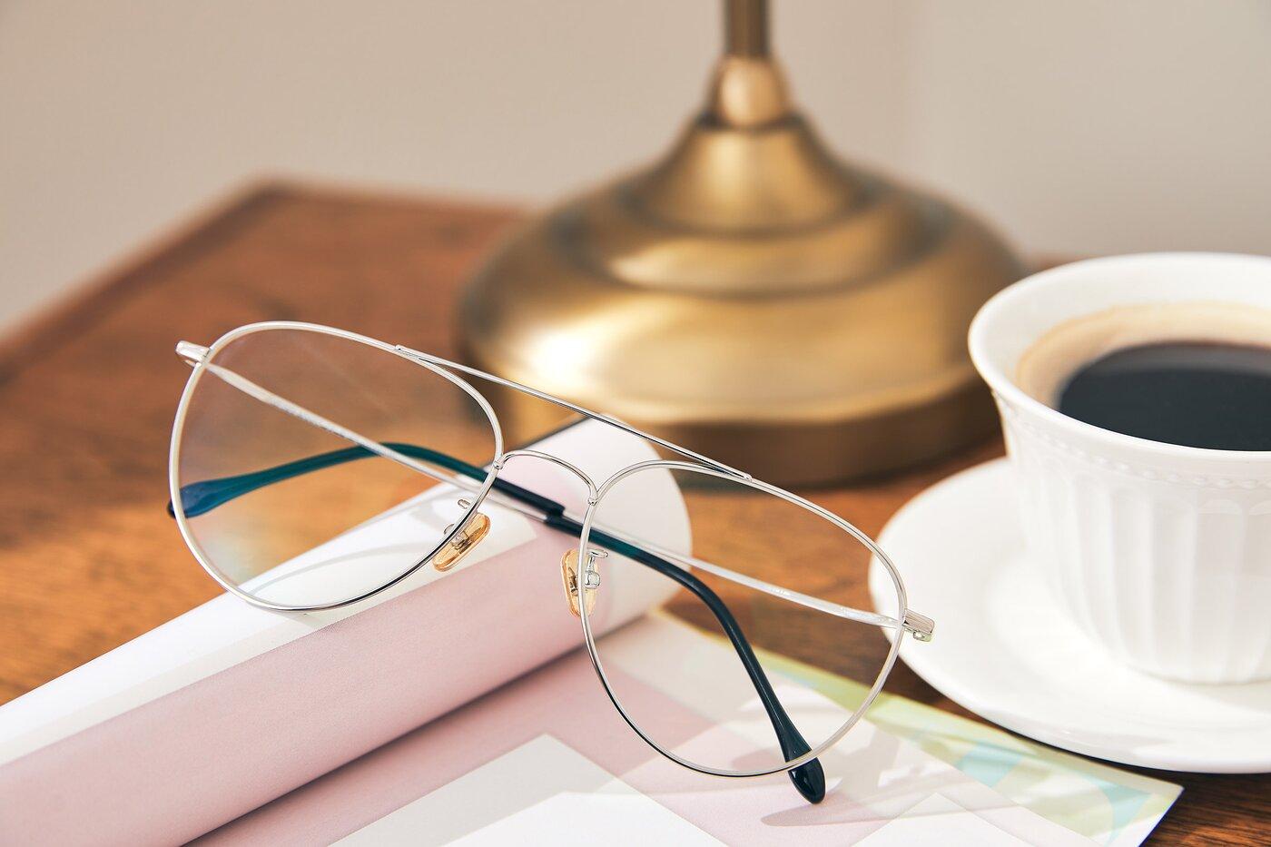 Silver Classic Titanium Aviator Eyeglasses