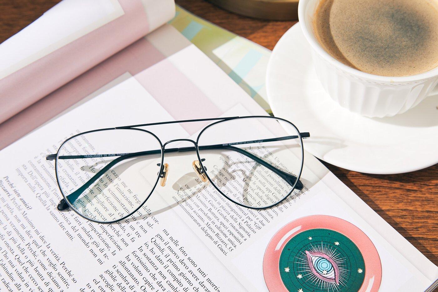Black Classic Titanium Aviator Eyeglasses