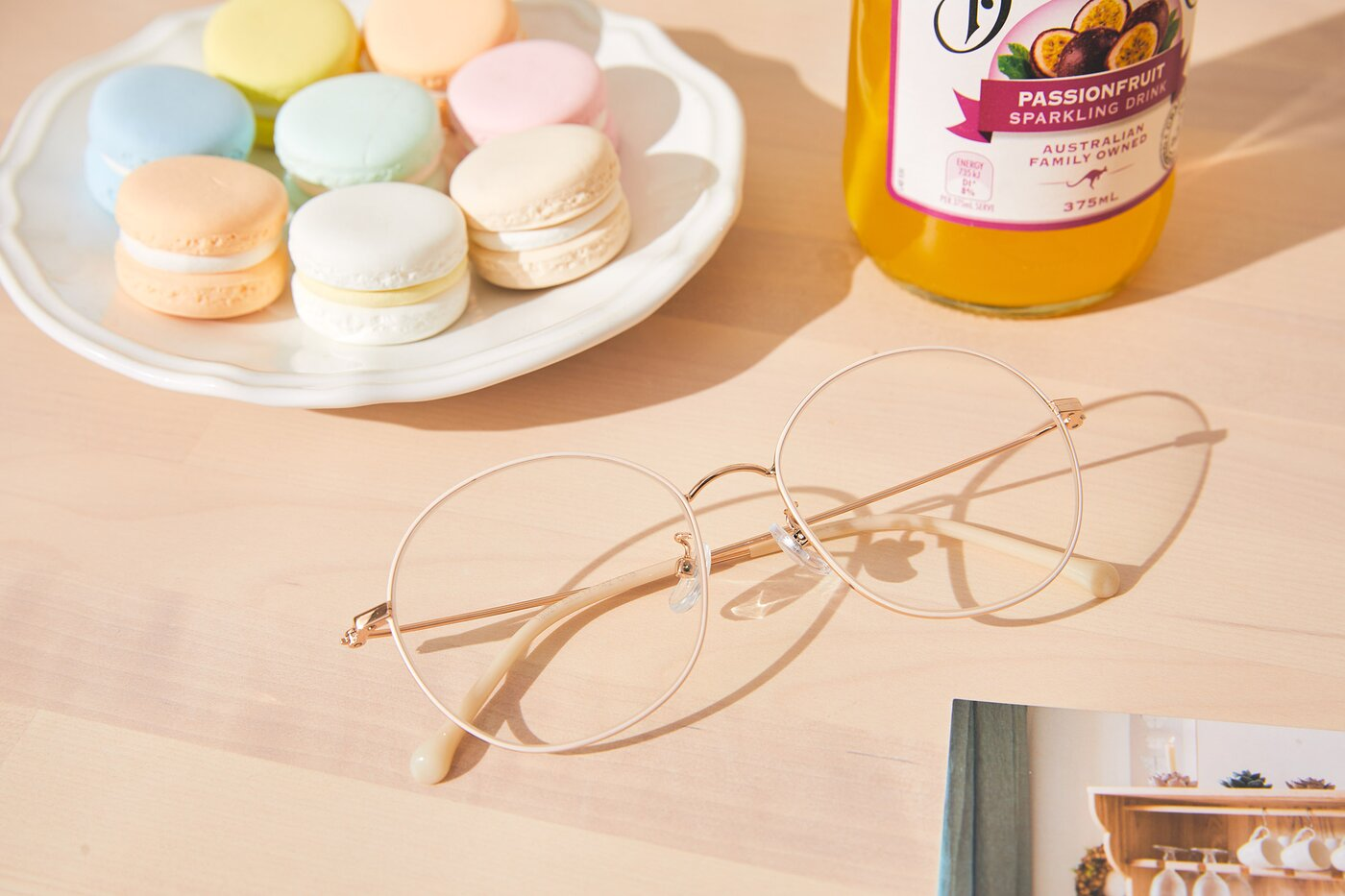 White-Gold Grandpa Oversized Round Eyeglasses