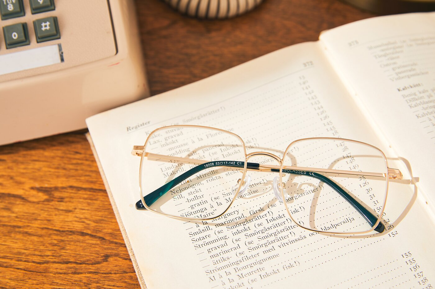 Gold Grandpa Oversized Square Eyeglasses