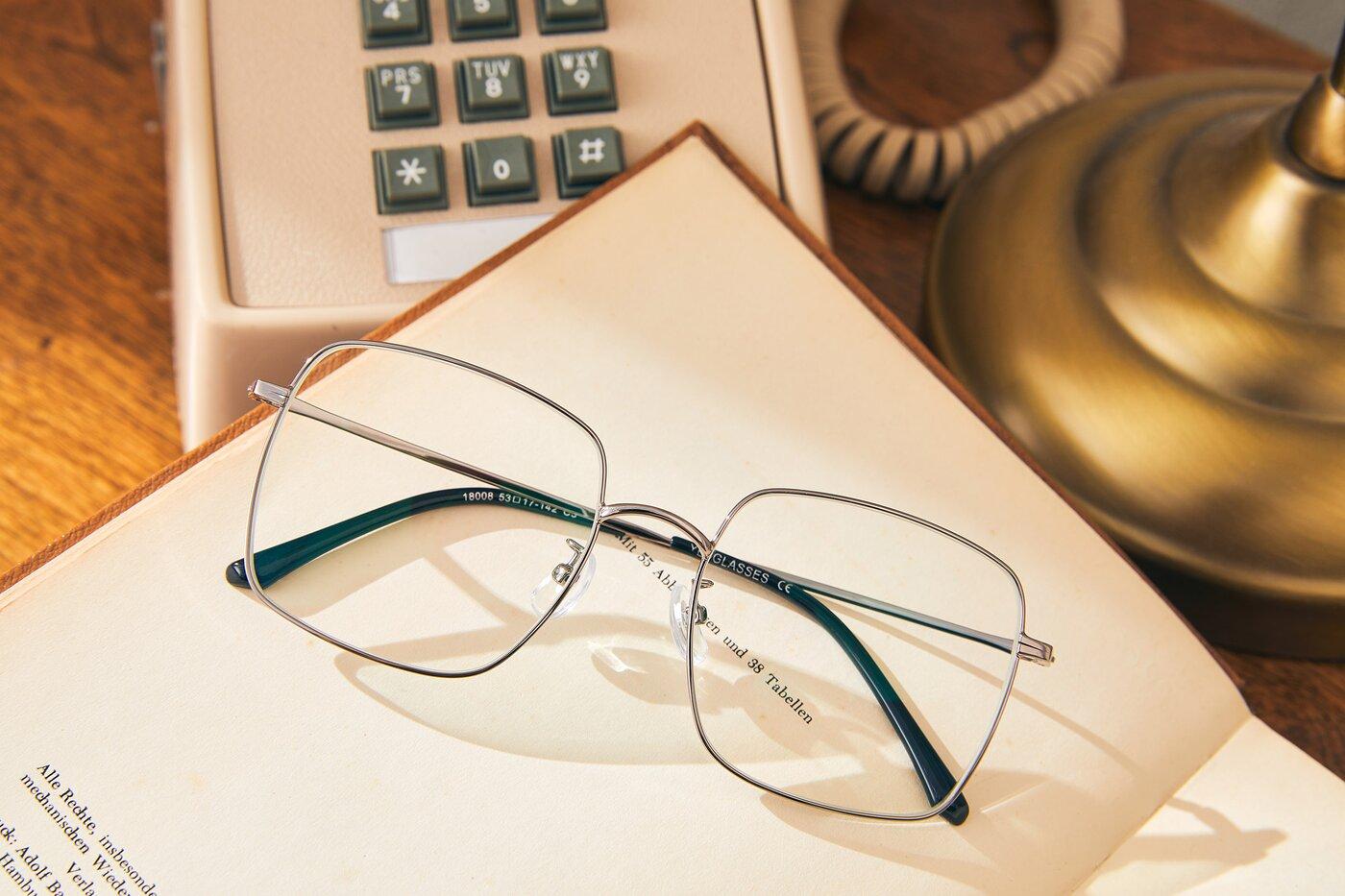 Silver Grandpa Oversized Square Eyeglasses