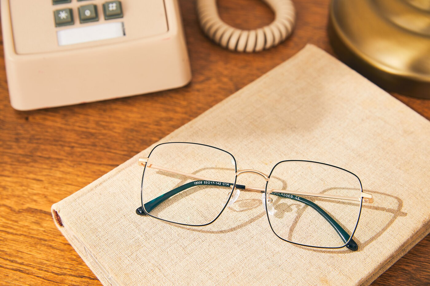 Black-Gold Grandpa Oversized Square Eyeglasses