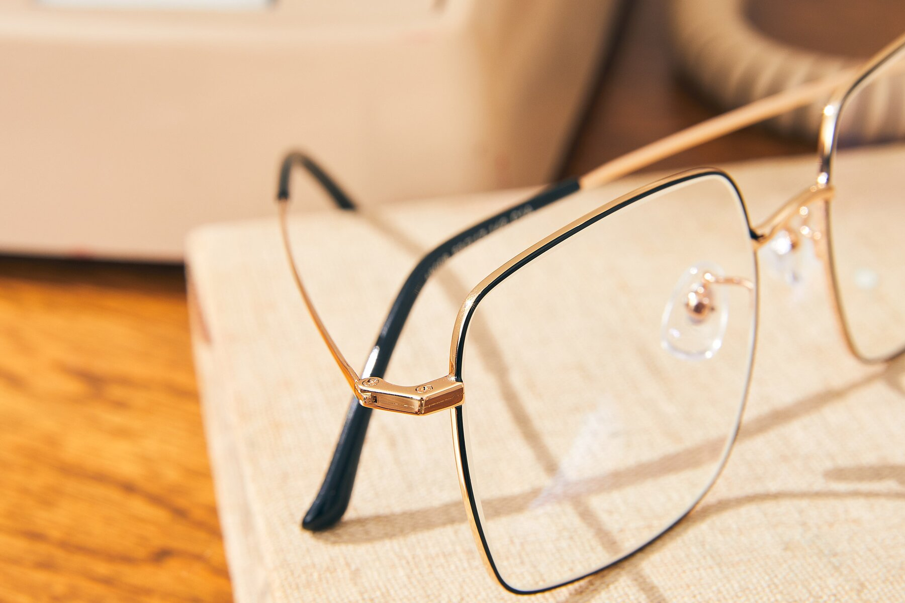 Lifestyle photography #3 of Billie in Black-Gold with Clear Eyeglass Lenses
