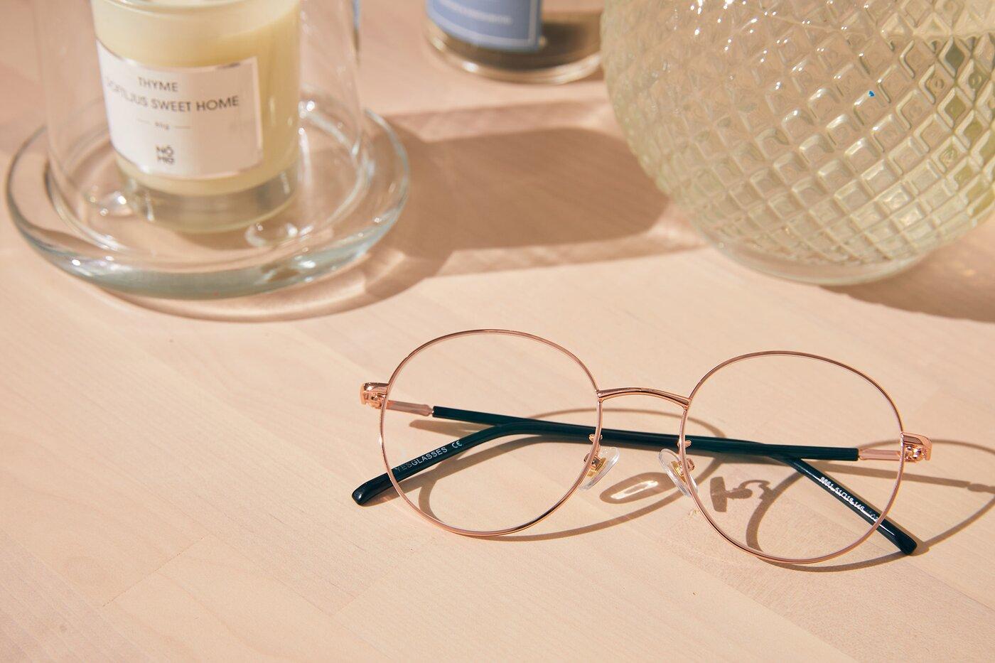 Rose Gold Oversized Metal Round Eyeglasses
