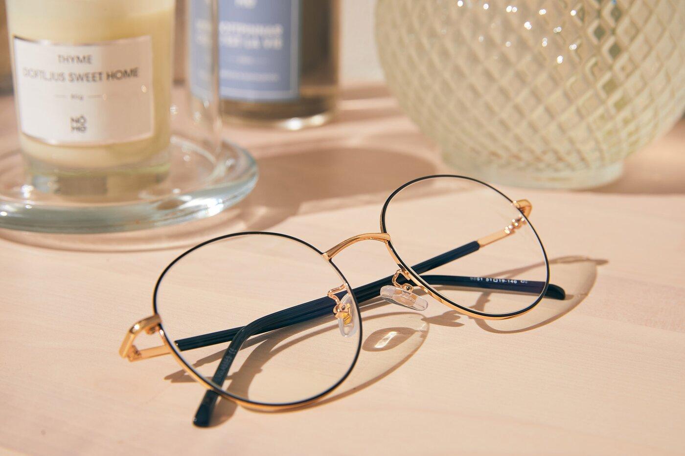 Black-Gold Oversized Metal Round Eyeglasses