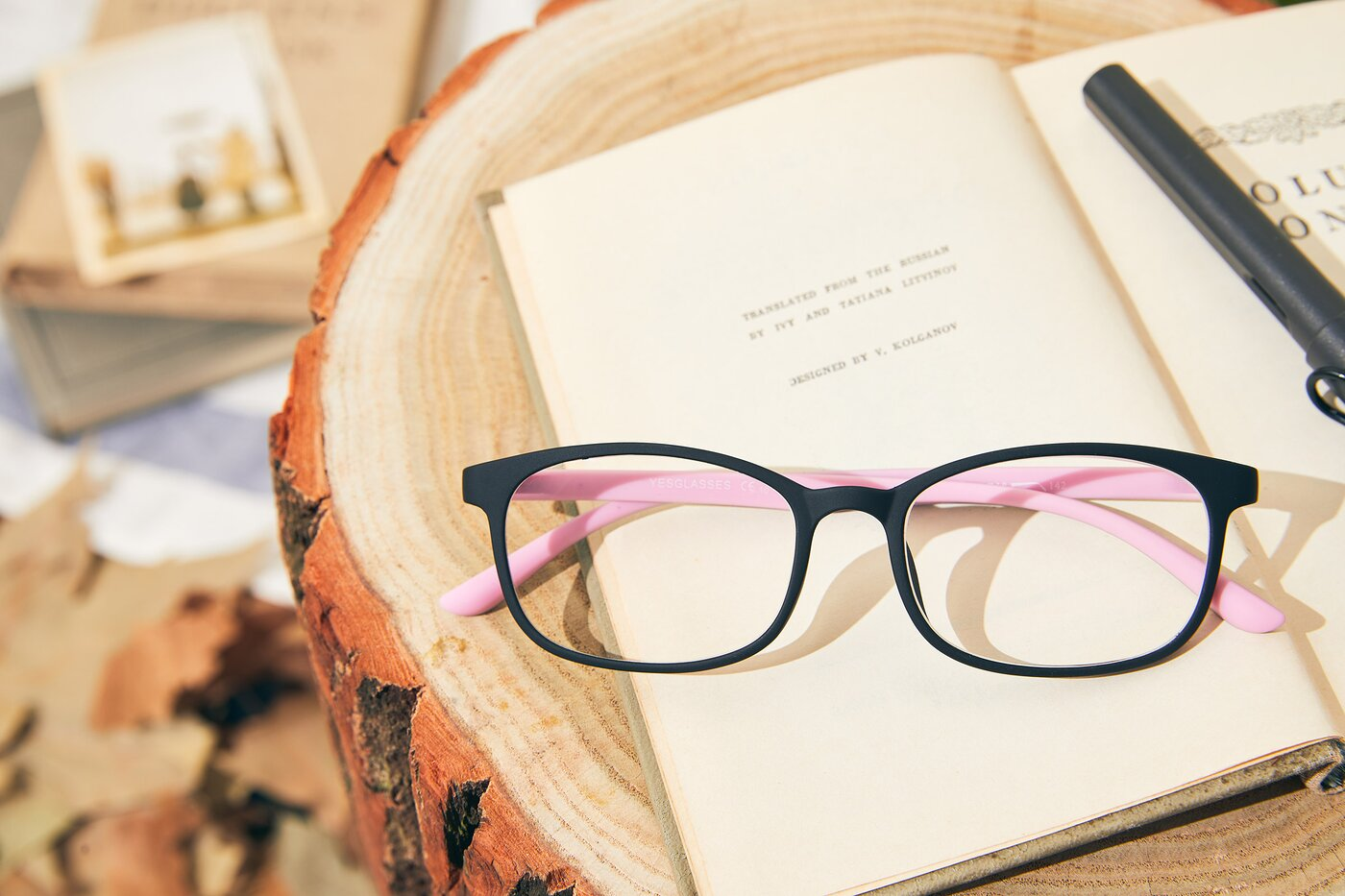 Matte Black-Pink Narrow TR90 Rectangle Eyeglasses