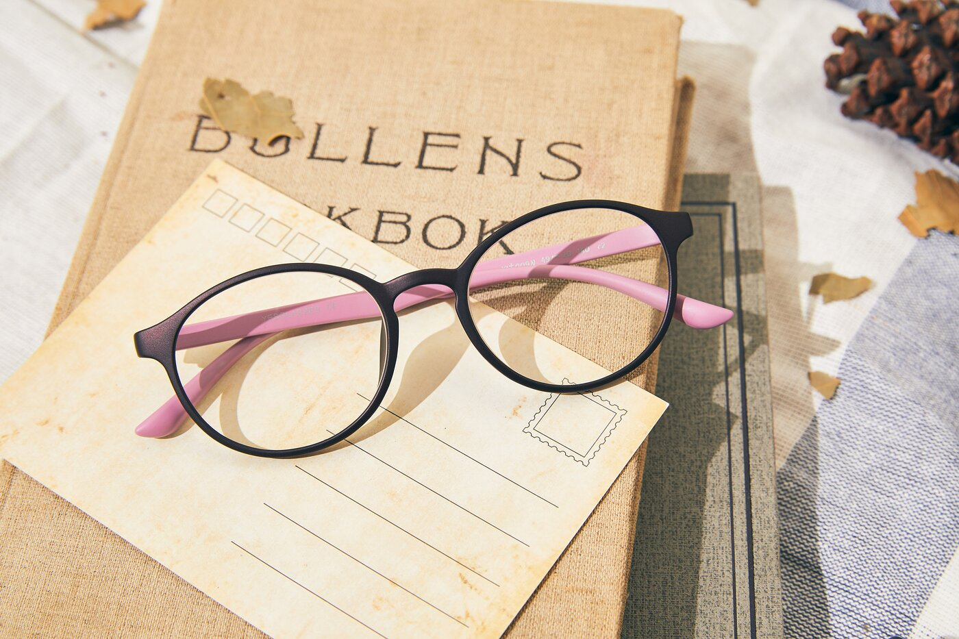 Matte Coffee-Pink Narrow Retro-Vintage Round Eyeglasses