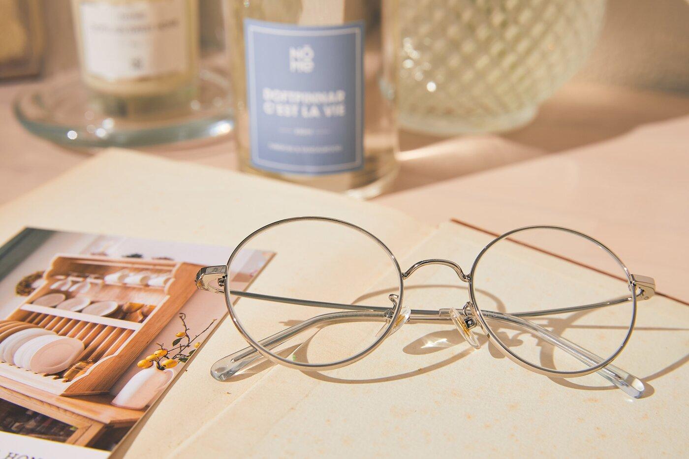 Silver Thin Metal Round Eyeglasses