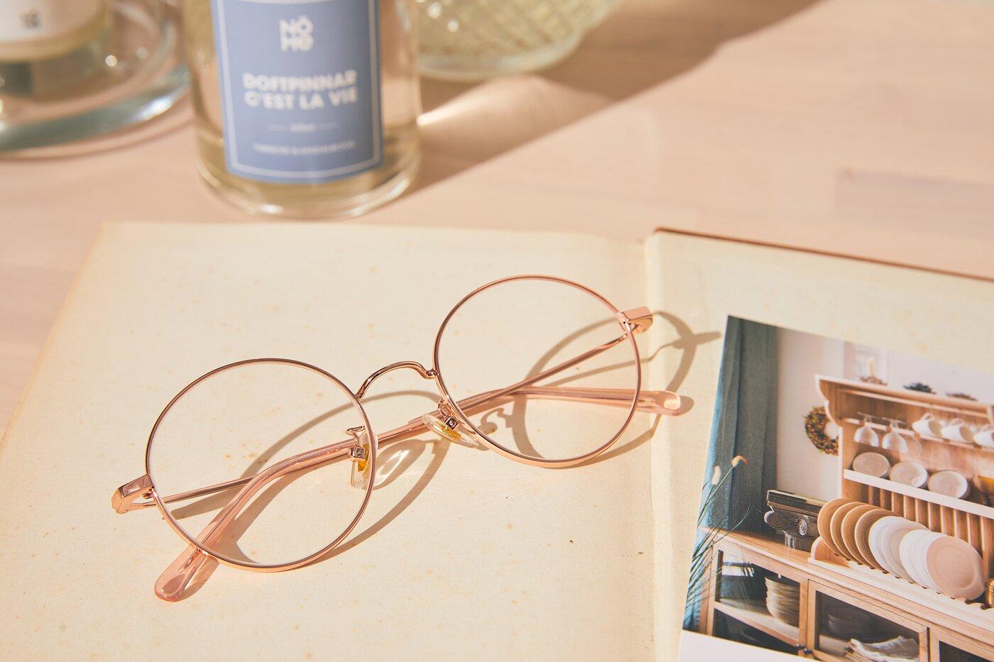 Rose Gold Thin Metal Round Eyeglasses